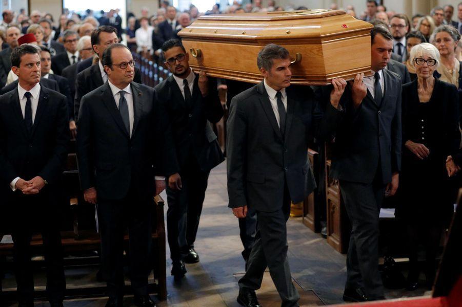 Manuel Valls et François Hollande à l'hommage à Michel Rocard, à Paris.