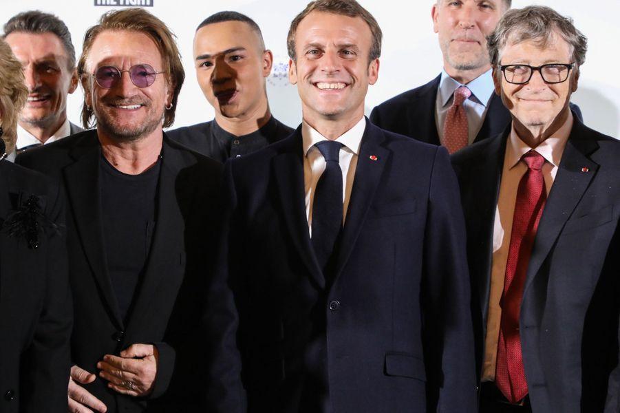 Emmanuel Macron mercredi à Lyon aux côtés de Bono, d'Olivier Rousteing et de Bill Gates.