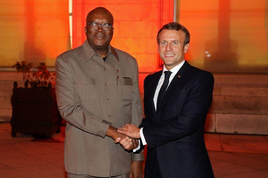 Emmanuel Macron avecRoch Marc Christian Kaboré,Président du Burkina Faso.