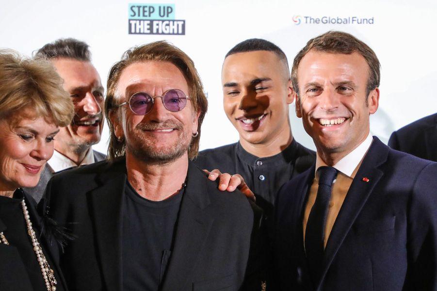 Emmanuel Macron mercredi à Lyon aux côtés de Bono et d'Olivier Rousteing.