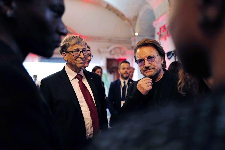 Bill Gates et Bono mercredi à Lyon.