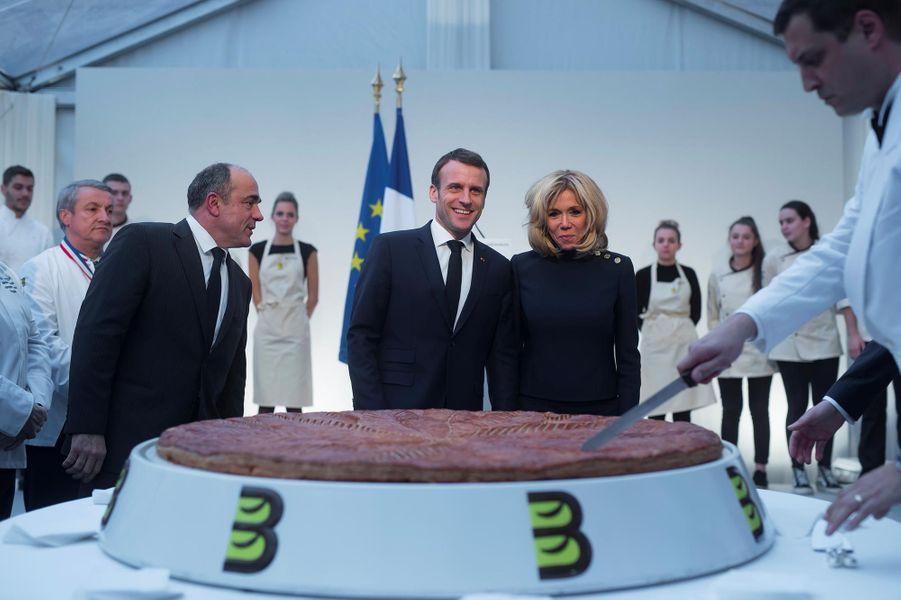 Emmanuel Macron lors de la traditionnelle galette des rois de l'Elysée, le 11 janvier 2019.