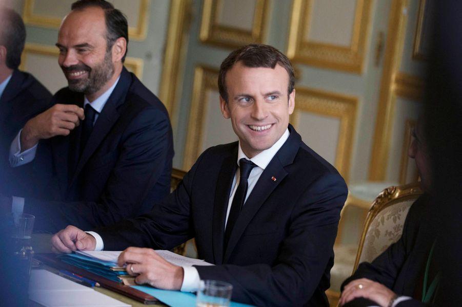 Edouard Philippe et Emmanuel Macron lors du Conseil des ministres franco-allemands.