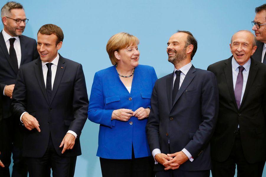 Emmanuel Macron, Angela Merkel et Edouard Philippe