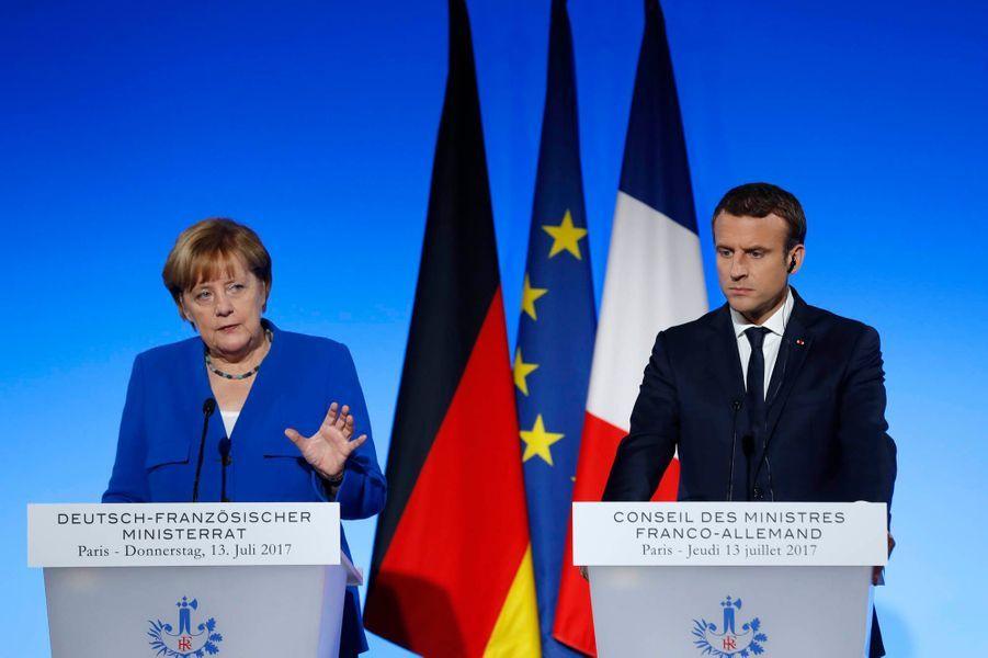 Angela Merkel et Emmanuel Macron lors de la conférence de presse.