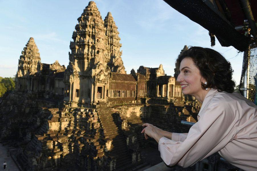 Audrey Azoulay était venue constater les ravages de la pluie et du vent sur Angkor, le plus grand site au monde inscrit au patrimoine mondial de l'humanité.