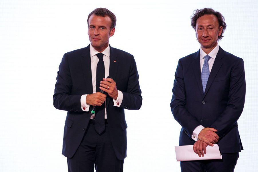 Emmanuel Macron et Stéphane Bern, jeudi à l'Elysée.