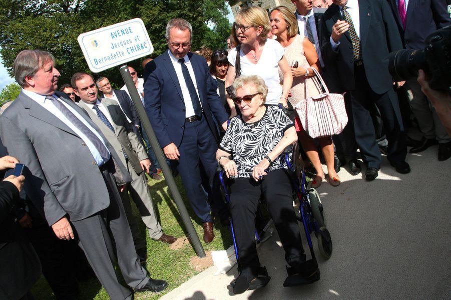 "Bernadette Chirac lors de l'inauguration del'""Avenue Jacques et Bernadette Chirac"" àBrive-la-Gaillarde, le 8 juin 2018."
