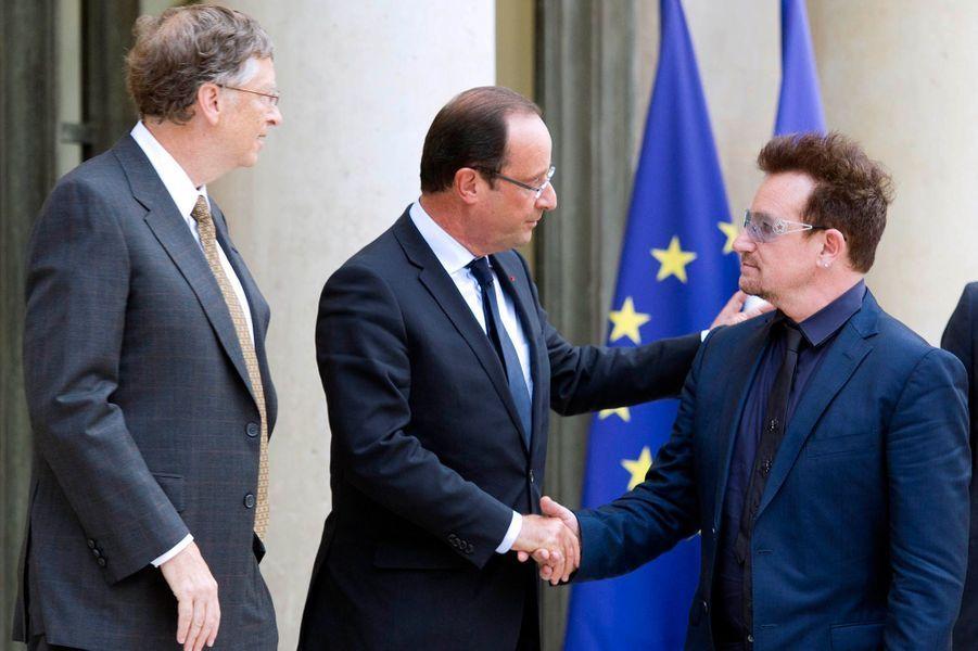 Rencontre avec François Hollande en compagnie de Bill Gates le 10 octobre 2012.