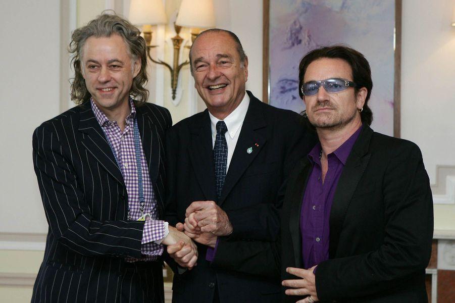 Rencontre en présence de Bob Geldof à l'Elysée avec Jacques Chirac le 8 juillet 2005.