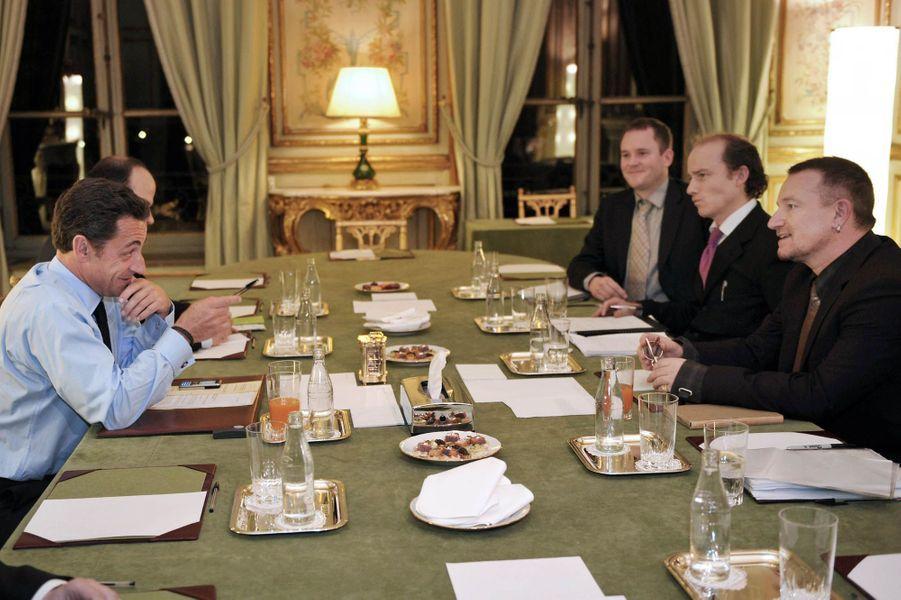 Rencontre à l'Elysée avec Nicolas Sarkozy le 7 janvier 2008.