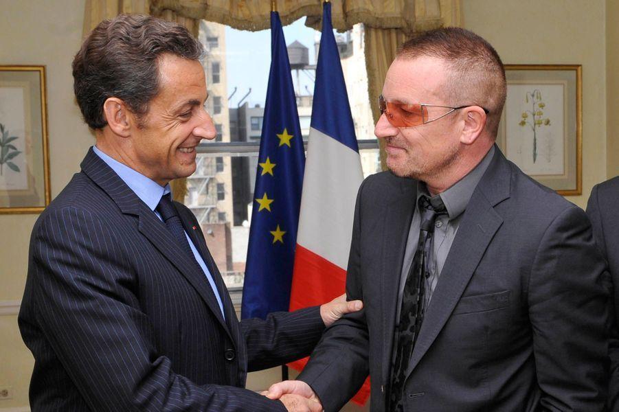 Rencontre à New York aux Etats-Unis, avec Nicolas Sarkozy le 22 septembre 2008.