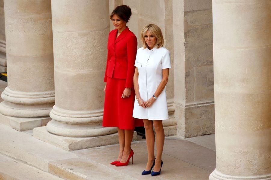 Brigitte Macron et Melania Trump aux Invalides.