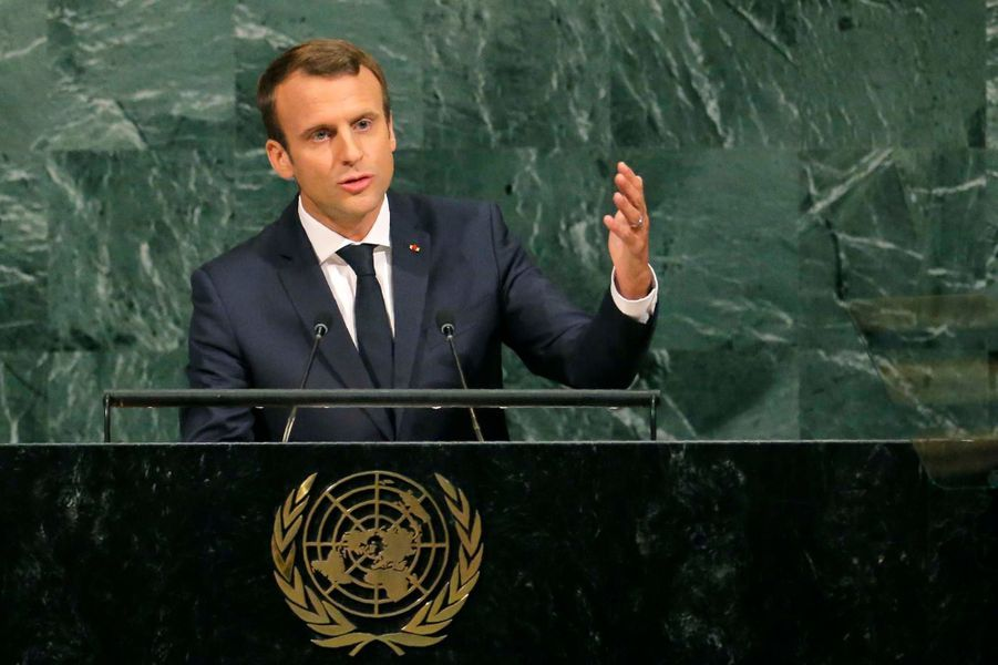 Emmanuel Macron à la tribune des Nations unies.