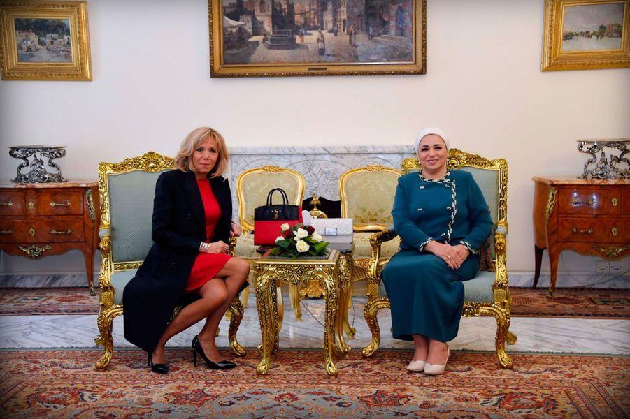 Brigitte Macron avec son homologue égyptienneEntissar Amer.