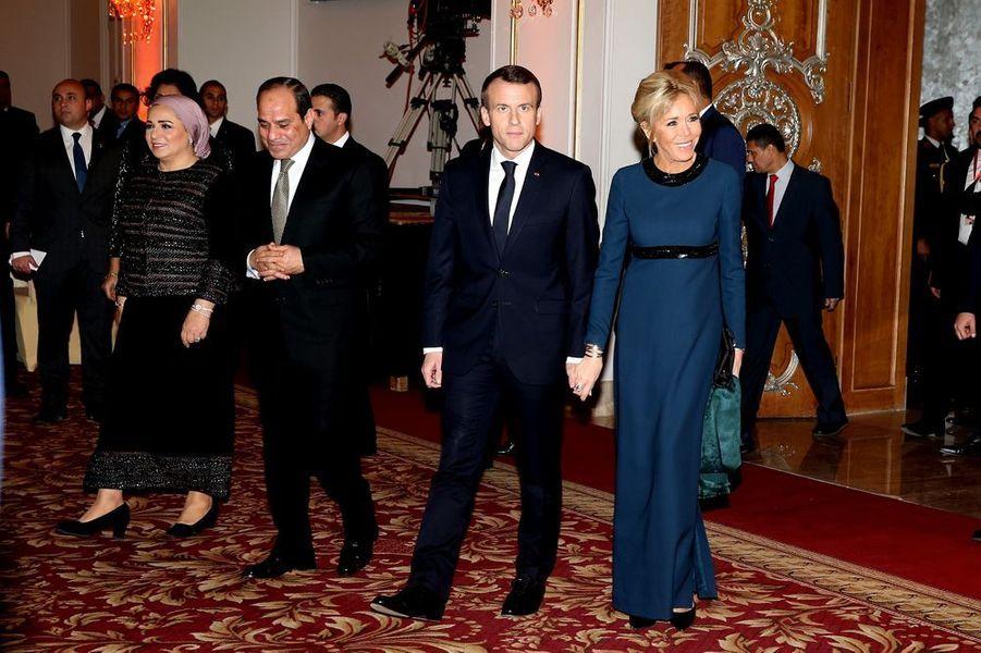 Dîner en l'honneur Emmanuel et Brigitte Macron offert par son homologue égyptien et son épouse, à l'hôtel Al Masah au Caire.