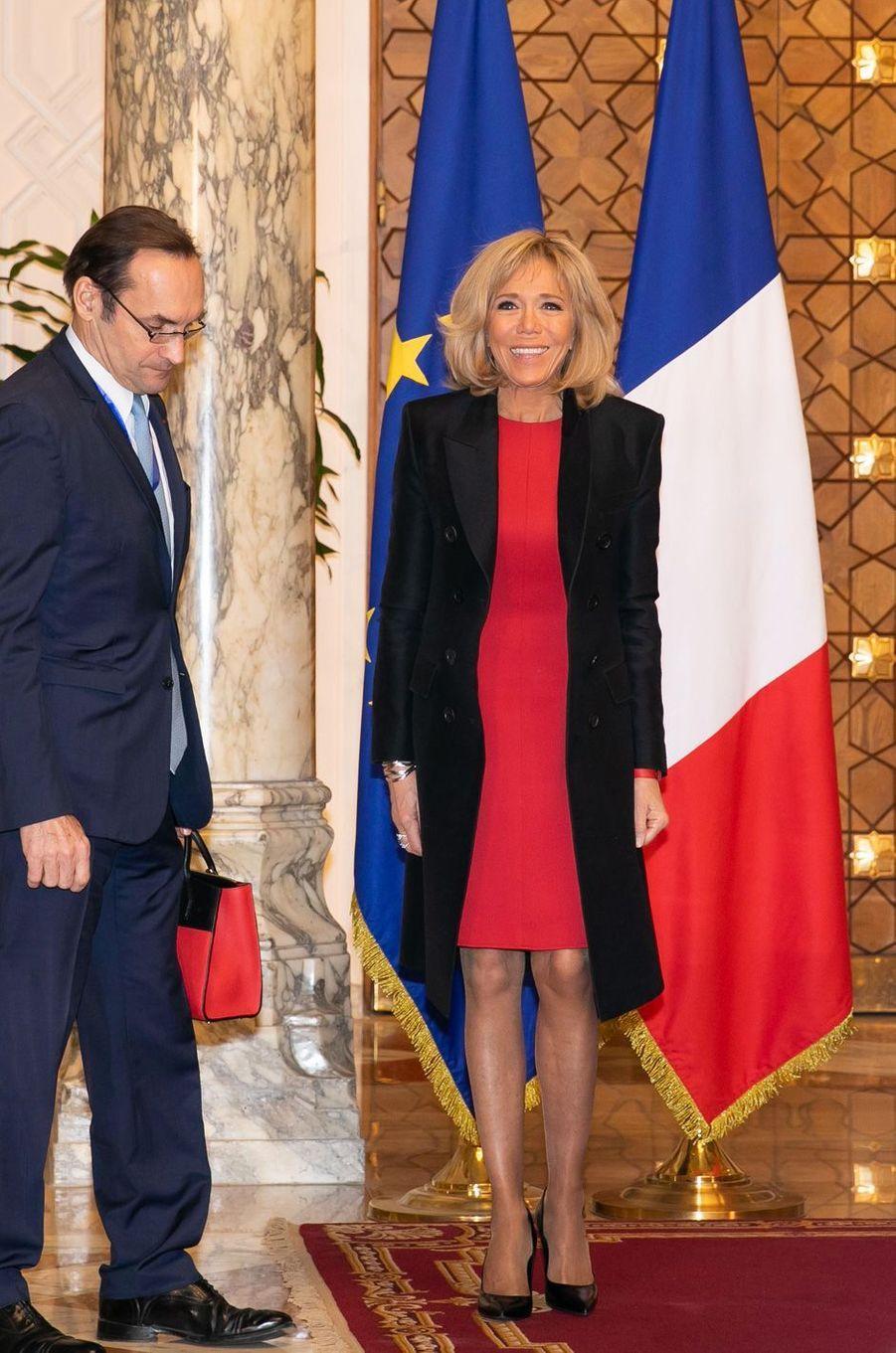 Brigitte Macron lundi matinau Palais présidentiel du Caire.