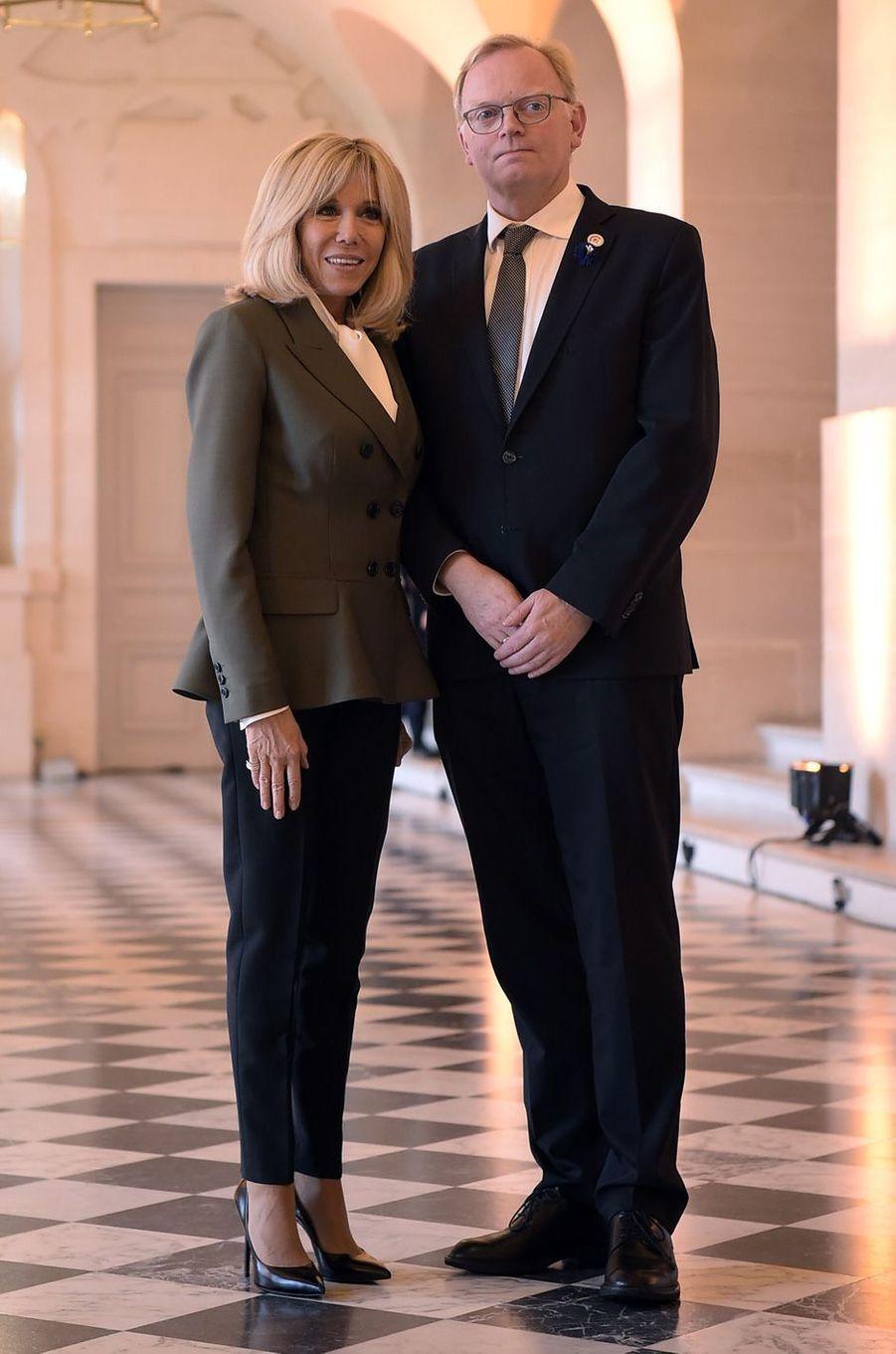 Brigitte Macron et Sindre Finnes, époux d'Erna Solberg,Première ministre norvégienne.