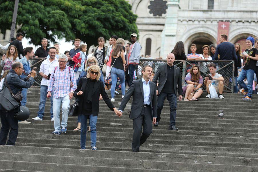 Ballade à Montmartre pour les Macron, en septembre 2016.