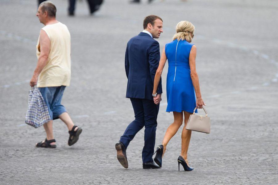 Les Macron, place de la Concorde à Paris,le 14 juillet 2015.