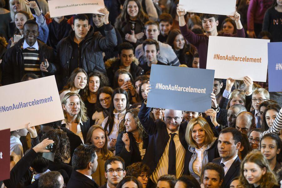 Brigitte Macron et Jean-Michel Blanquer à Dijon lors d'un déplacement autour du harcèlement à l'école.