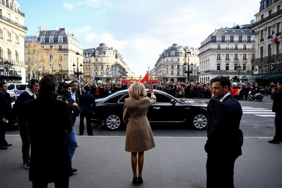 Brigitte Macron à l'Opéra Garnier à Paris.
