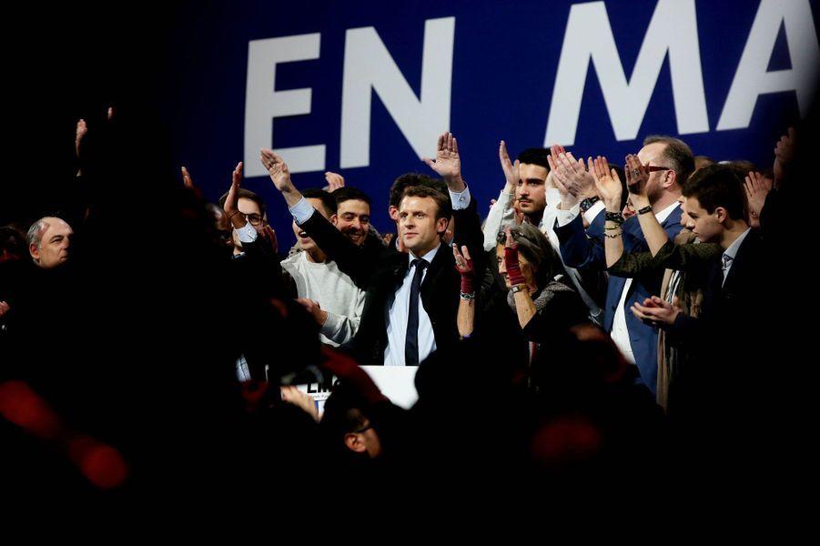 Emmanuel Macron lors de son meeting au Zénith de Lille.