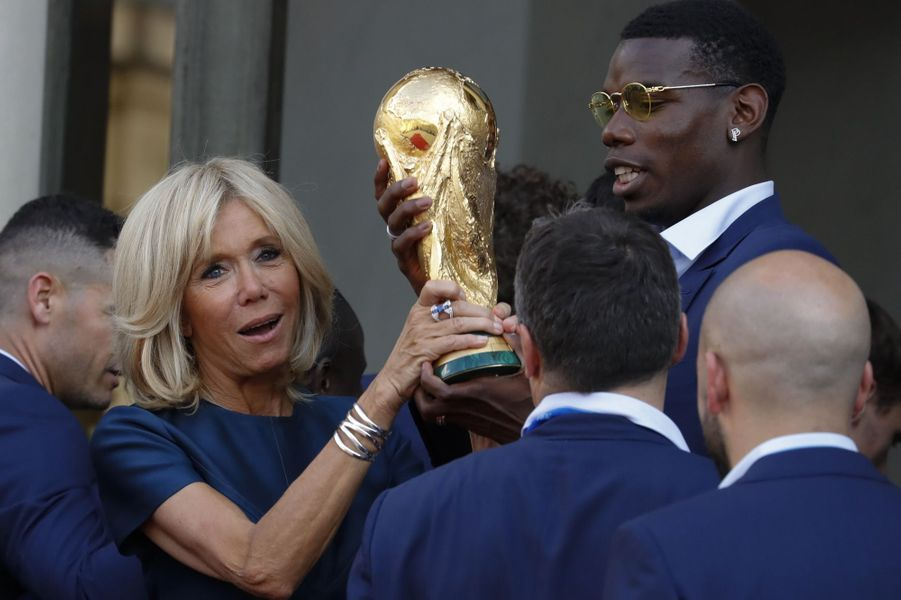 Brigitte Macron et Paul Pogba.