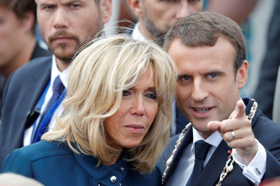 Emmanuel Macron et son épouse Brigitte lors du défilé du 14 Juillet.