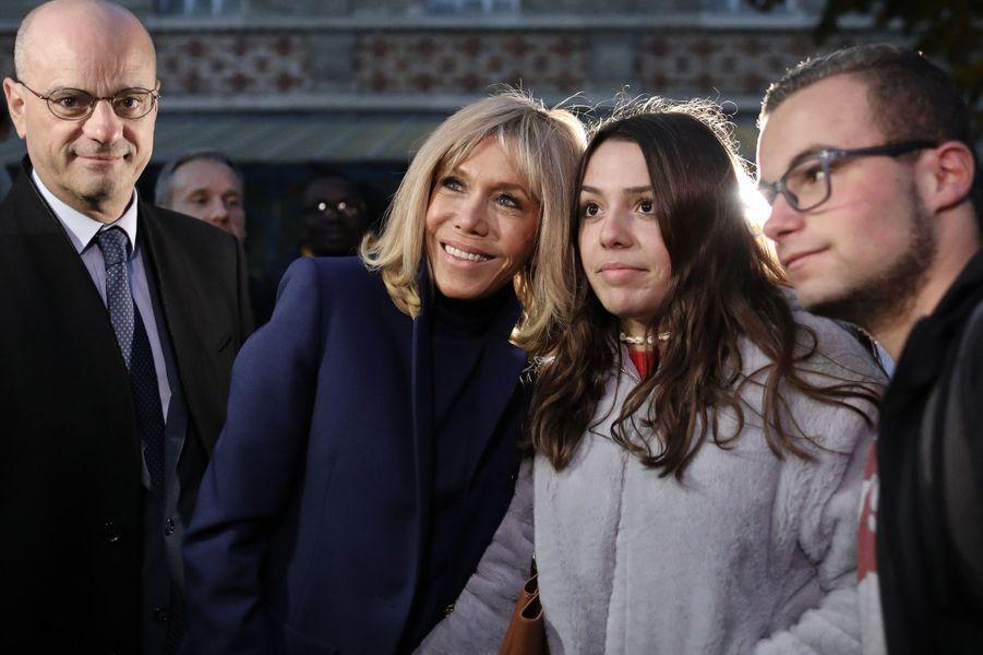 Brigitte Macron et Jean-Michel Blanquerau collège Chaptal, à Paris,à l'occasion de la Journée nationale de lutte contre leharcèlementscolaire.