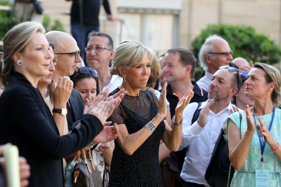 Fête de la musique à l'Elysée où Emmanuel Macron et son épouse ont accueilli le président de la République de Colombie Juan Manuel Santos et sa femme Clemencia Rodriguez.