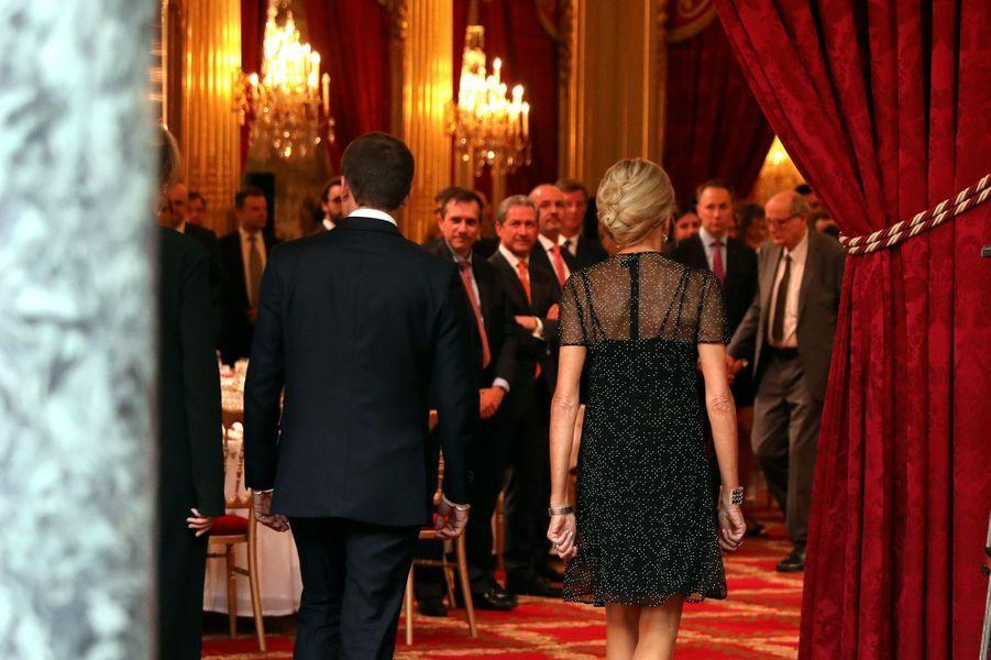 Le couple présidentiel lors dudîner d'Etat en l'honneur du président de la République de Colombie Juan Manuel Santos et de son épouse.