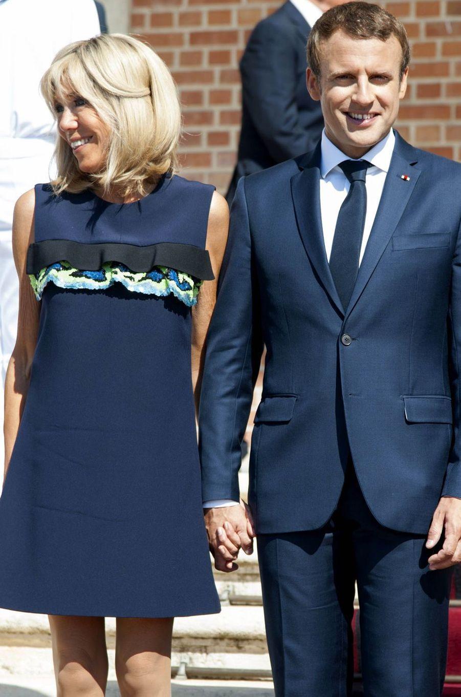 Emmanuel et Brigitte Macron reçus au palais Euxinograd à Varna (Bulgarie), le 25 août 2017.