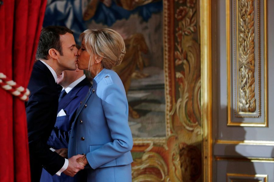 Emmanuel et Brigitte Macron, à l'Elysée le 14 mai lors de l'investiture du président de la République.