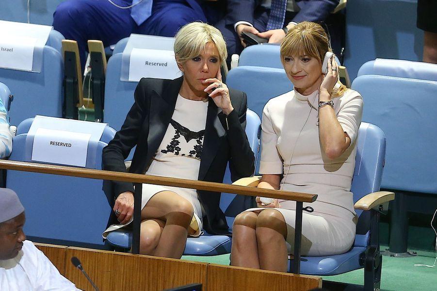 Brigitte Macron assiste au discours de son mari devant l'Assemblée générale de l'ONU à New York, le 19 septembre.