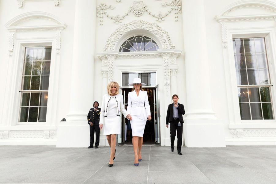 Melania Trump et Brigitte Macron àWashington, le 24 avril 2018.