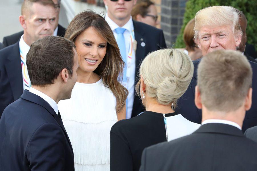 Les couples Trump et Macron, àHambourg, en juillet 2017 en marge du G20.