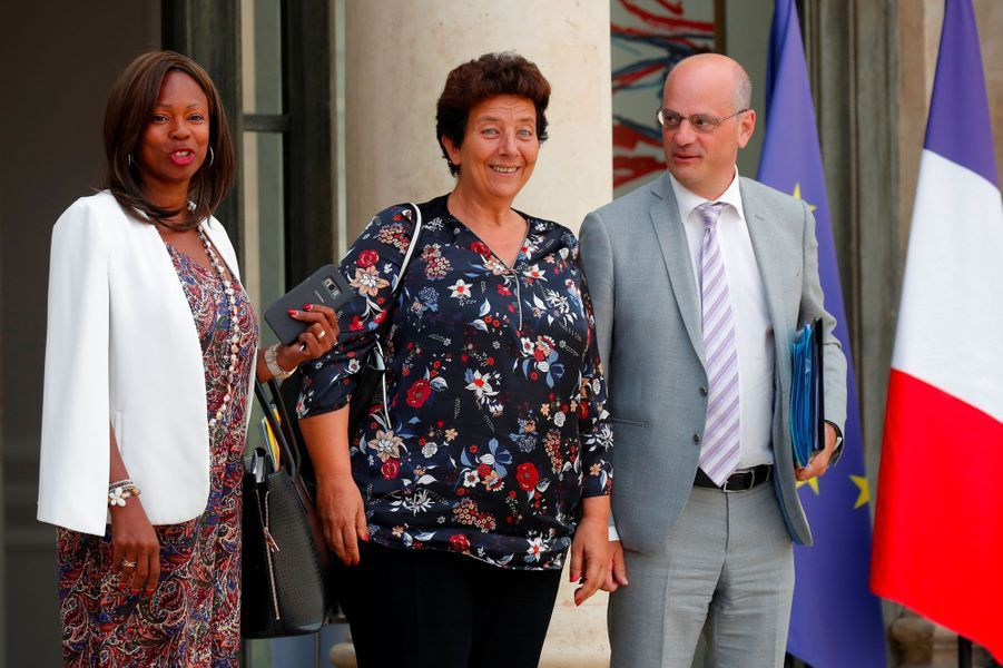 Laura Flessel, Frédérique Vidal et Jean-Michel Blanquer, mercredi à l'Elysée.