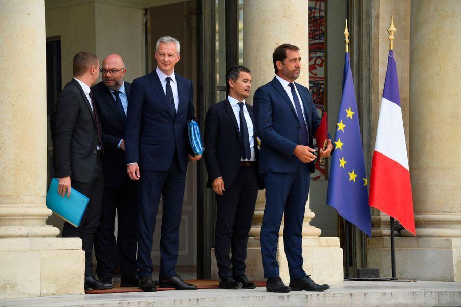 Olivier Dussopt, Stéphane Travert, Bruno Le Maire, Gérald Darmanin et Christophe Castaner, mercredi à l'Elysée.