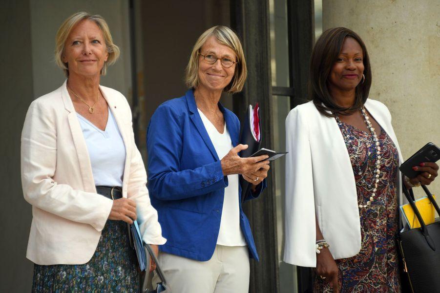 Sophie Cluzel, Françoise Nyssen et Laura Flessel, mercredi à l'Elysée.