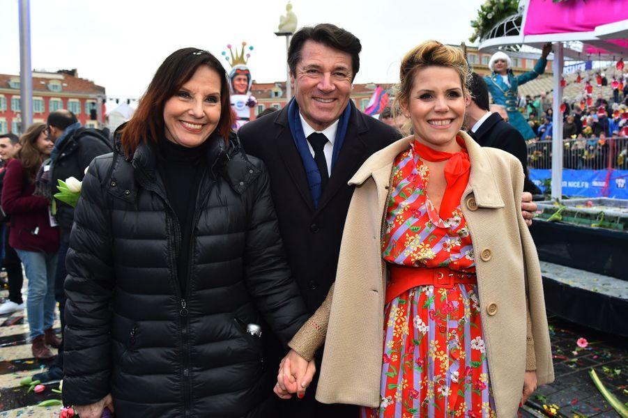 Denise Fabre, Christian Estrosi etLaura Tenoudji au Carnaval de Nice.