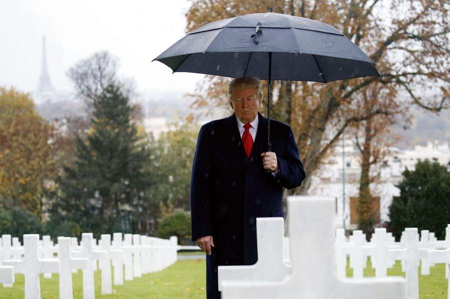 Donald Trump, le 11 novembre au cimetière américain de Suresnes.