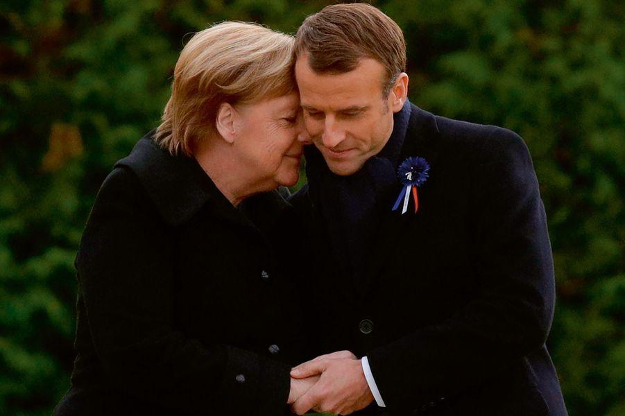 Le 10 novembre avec Angela Merkel à Rethondes (Oise).