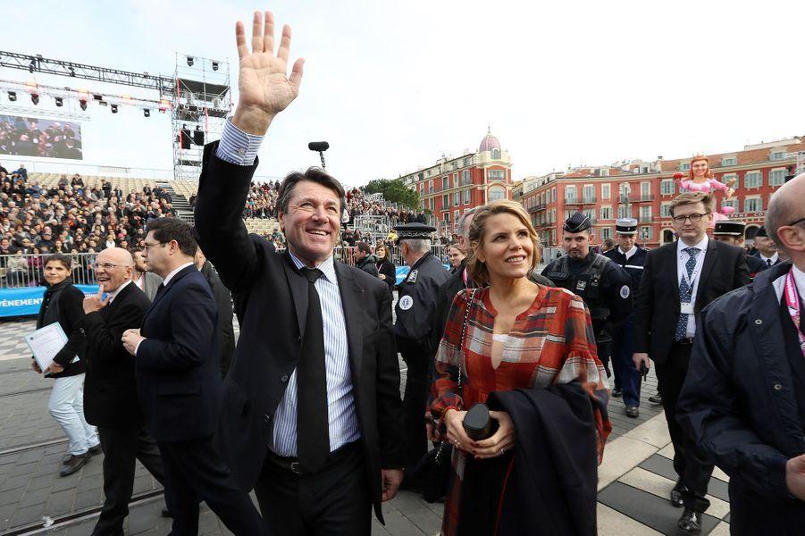 Christian Estrosi et Laura Tenoudji-Estrosi au carnaval de Nice.