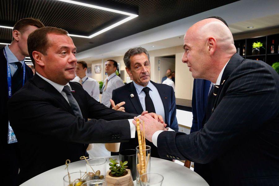 Dmitri Medvedev, Gianni Infantino et Nicolas Sarkozy