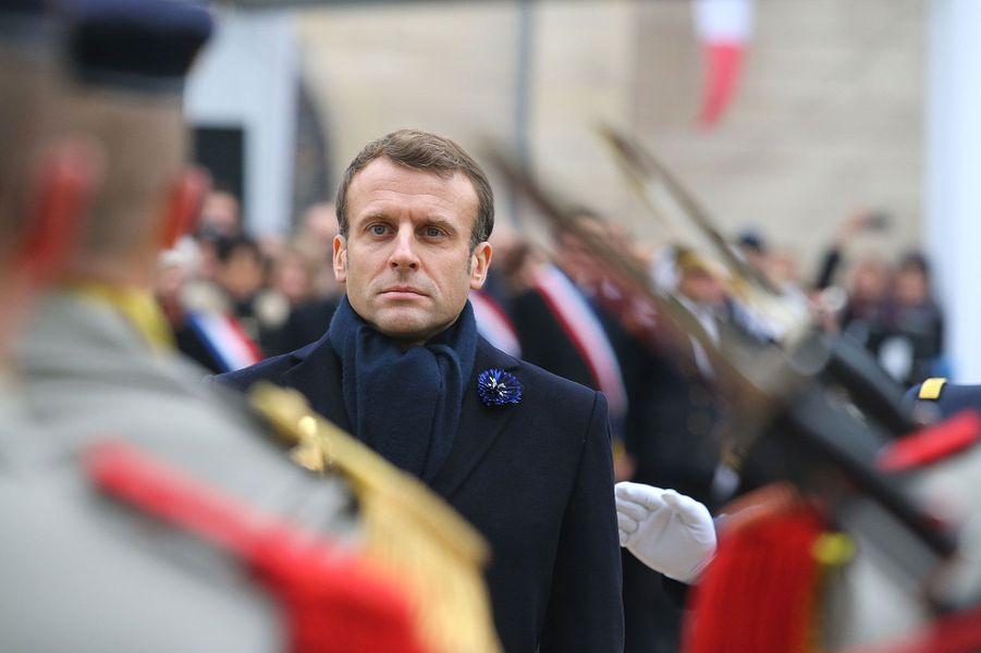 Emmanuel Macron au mémorial des batailles de la Marne, à Dormans, jeudi.