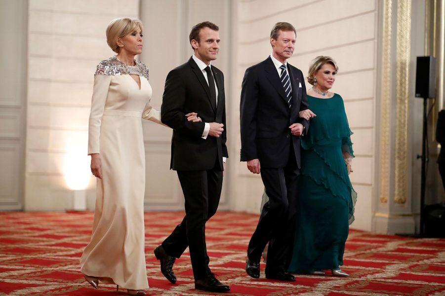 Brigitte et Emmanuel Macron aux côtés de Henri et Maria-Teresa de Luxembourg.