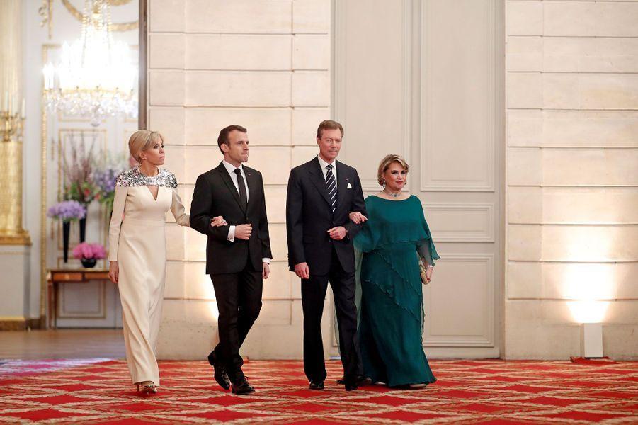 Brigitte et Emmanuel Macron aux côtés de Henri et Maria-Teresa de Luxembourg