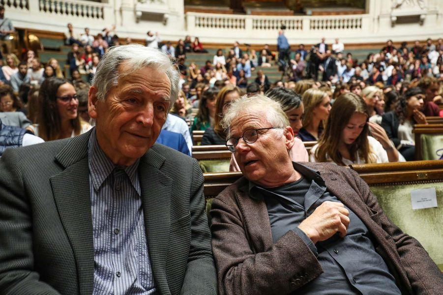 Costa-Gavras et Cohn-Bendit lors du discours d'Emmanuel Macron à La Sorbonne.
