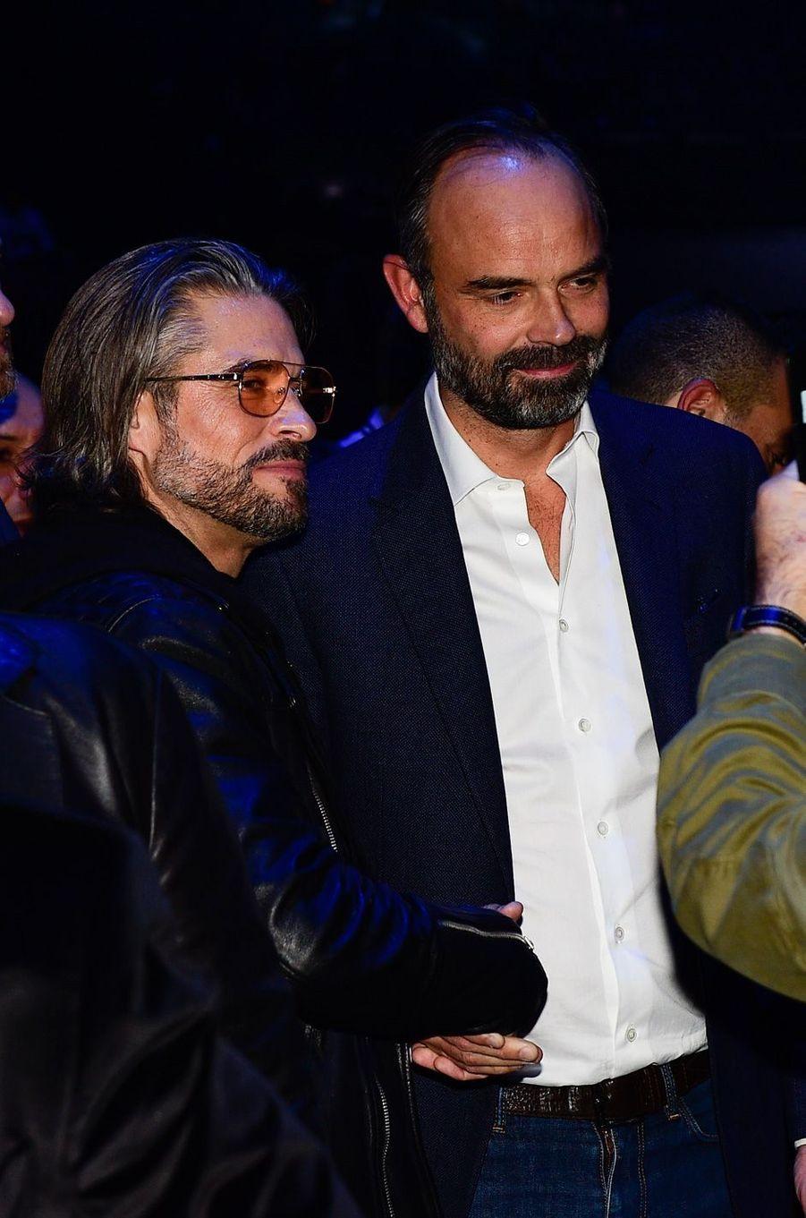 Le Premier ministre avec l'acteur Anthony Dupray.